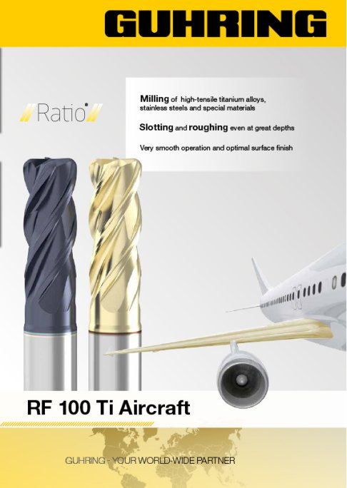 Ratio end mills RF 100 Ti Aircraft centre cutting.