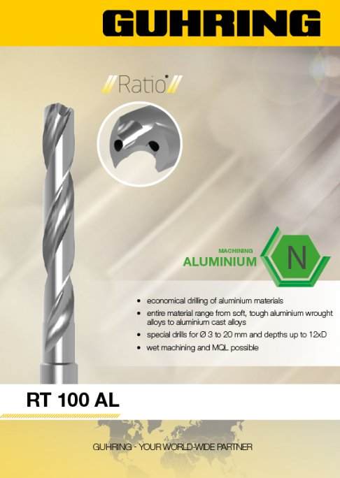 RT 100 Al distinguishes itself through optimized geometry with a highly polished surface in the web thinning, rake face, and clearance areas.