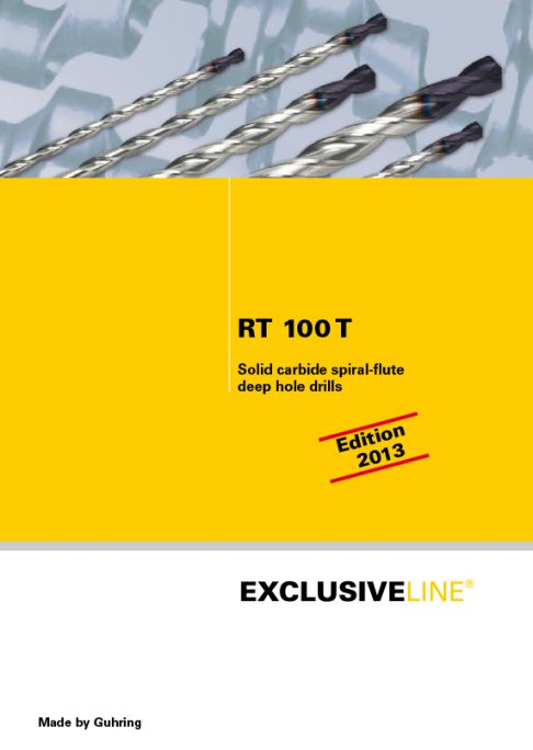 RT 100 T - Solid carbide spiral-fluted deep hole drills