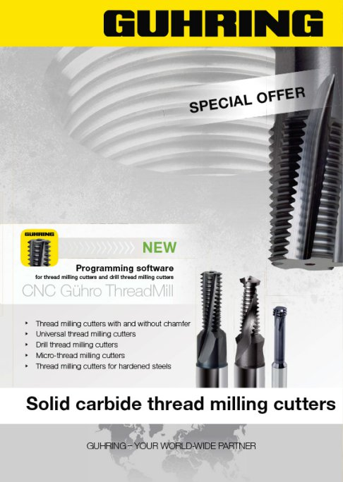 Solid carbide thread milling cutters from Guhring