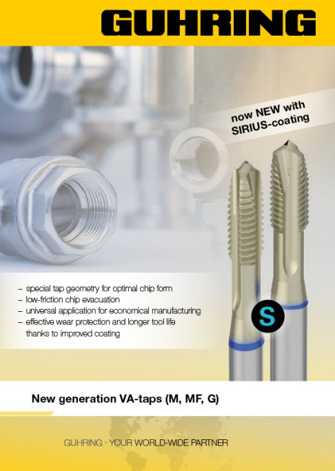 Guhring has succeeded in compiling a new VA tap range with which a wide range of materials can be machined.